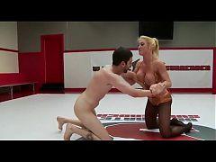 Blonde milf dominates guy in hot sexfight