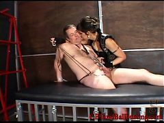 she clamps bites pulls a starterslaves cock and balls