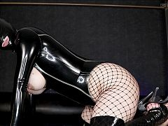Latex face sitting and face dildo on sub Preview