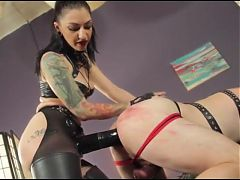 Mistress Destroys Ass with huge black strapon
