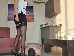 Mistress uses slaves face as a chair