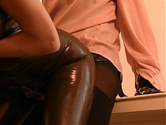 2-5.1 Emy fucking Emma in Latex with Strap on me Dildo Cum
