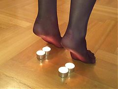 Nylon feet candle torture