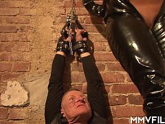 Busty femdom Mia is making prisoners for pussy pleasure
