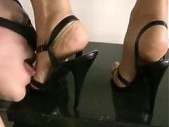 Worthless Loser Licking Powerful High Heels