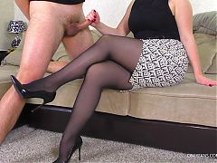 School Teacher in Pantyhose after school Handjob her Student