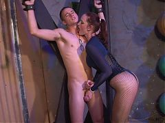 Strict domme gives nerd blue-balls