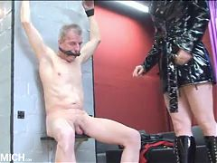Grandpa gets a punishment from young German dominatrix