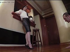 Leather mistress after work