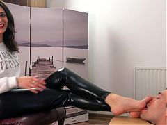 Cute mistress receives foot worship