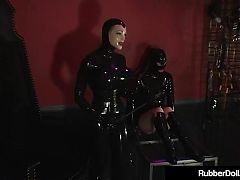 Latex Babe RubberDoll Helps Rubberella Spank Latex Slut!