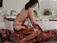 Japanese Femdom Wet and Messy with Chocolate Sauce
