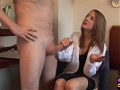 Naughty femdom doc checks out cock