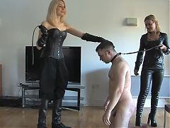 Two blonde mistresses whipping male slave 02