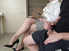 I pull out my cock in front of the teacher in stockings