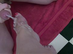 Huge load, foot and fist fisting, foot fetisch, cum