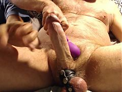 cumshot lands past his shoulder, squeezed balls teased cock
